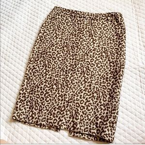 J Crew Leopard Print Pencil Skirt